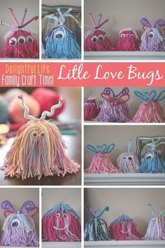 PERFECT family craft for Valentine's Day! LITTLE LOVE BUGS? LOVELY LITTLE MONSTERS? We couldn't decide what to call them, but we couldn't stop making these charming little critters! This is such a fun craft idea for the entire family. Some yarn and a few Valentine Day Love, Valentines Day Party, Valentine Day Crafts, Holiday Crafts, Printable Valentine, Homemade Valentines, Valentine Wreath, Valentine Ideas, Homemade Christmas