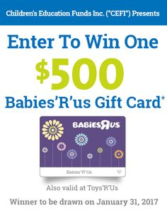 Enter To Win One $500 Babies'R'Us Gift Card