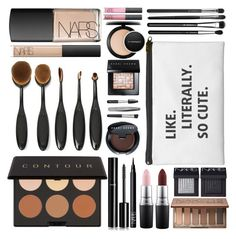 """makeup bag"" by alittlebitidiotic ❤ liked on Polyvore featuring beauty, Elizabeth Mott, Bobbi Brown Cosmetics, NARS Cosmetics, Chanel, Sephora Collection, MAC Cosmetics, Urban Decay, Illamasqua and contestentry"