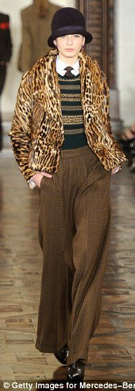 Ralph Lauren  -- LOVE the trousers.  I'd simplify the top half -- maybe just a turtleneck