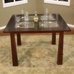 You can use left over Instant Granite sheets to create faux granite inlay on your old tables. Counter Height Dining Table, Wood Counter, Dining Room Table, Game Room Furniture, Dining Furniture, Cool Furniture, Furniture Ideas, Granite Remnants, Granite Dining Table