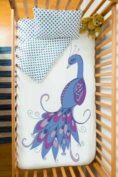 Baby bedding set in organic cotton Peacock by atelieredele on Etsy, $200.00