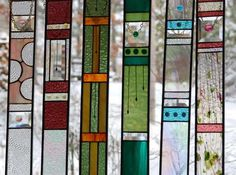 Springtime STAINED GLASS PANEL, home decor, abstract, suncatcher, window treatment, interior design
