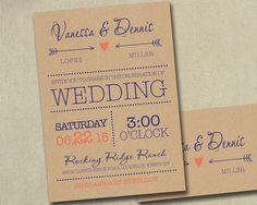 NAVY AND CORAL/PEACH Wedding Invitation Invitations Invite Invites by SAEdesignstudio