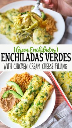 mexican recipes with chicken These Green Enchiladas are creamy, cheesy & full of flavor! Stuffed with chicken, cream cheese, shredded cheese, and fire roasted green chiles. Chicken Enchiladas Verde, Enchiladas Verdes Recipe, Cream Cheese Enchiladas, Shredded Beef Enchiladas, Salsa Verde Recipe, Tomatillo Salsa Verde, Chicken With Salsa Verde, Homemade Enchiladas Chicken, Mexican Side Dishes