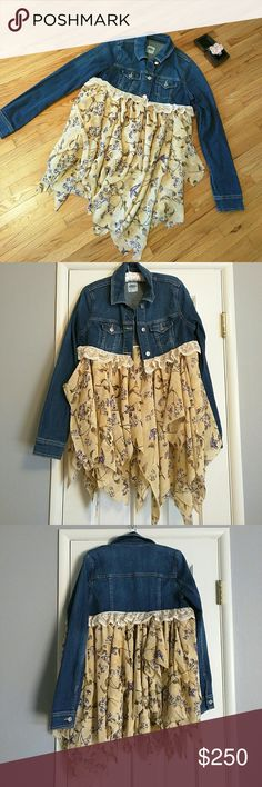 REDUCED TODAY 05/27  Bohemian Duster Jacket Show off your unique boho style with this handmade duster jean jacket. Each piece of fabric hangs separately. The hanging fabric is not attached to each other. The fourth shows how the fabric is sewn on.  ONE OF A KIND!! AND MADE WITH LOVE!!  Jackets & Coats