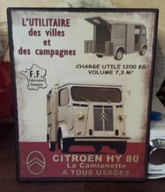 plaque metal   citroen HY 80  28*22 cm