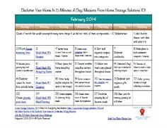 Free printable February 2014 decluttering calendar with daily 15 minute mission {on Home Storage Solutions 101}