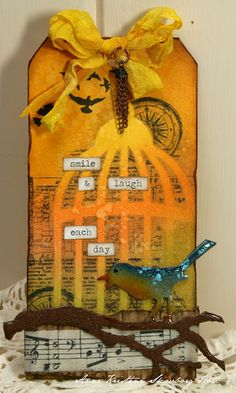 Use birdcage die cut as stencil and GET that typewriter out!