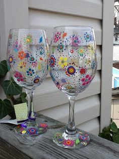Hippie boho wineglass...each glass by TheUniqueMiniBoutiqu on Etsy