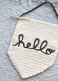 Hello Crochet Banner Video Class — One Social Girl Crochet Bunting, Love Crochet, Diy Crochet, Crochet Garland, Mason Jar Crafts, Mason Jar Diy, Crochet Wall Hangings, Crochet Wall Art, Easy Crafts To Sell