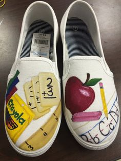 Custom painted teacher/academic shoes by Pictureworth1000word