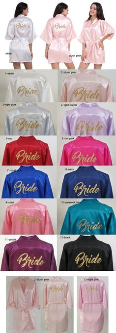 cf1ab9b6e7 Customize Bride Gold Print Short Plain Satin Kimono Cheep Robe Wedding  Party Robes Bridal Kimono Bride Bathrobe Party Favors Gift Small Wedding  Favors ...