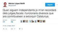 El professor de Dret de la UPF i activista independentista Hèctor López Bofill haurà d'anar a la Fiscalia dilluns vinent en qualitat d'investigat –abans, imputat– per unes polèmiques piulades que va fer al seu compte de Twitter. El ministeri públic li ha enviat una citació per les 9:45, hora en què està previst que Carme Forcadell estigui declarant al TSJC, tal com ell mateix ha anunciat a la xarxa social. Ni la carta de la Fiscalia ni ell mateix han explicat de quines piulades es tracta…