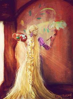 Walt Disney animation movie enchanting fairytale Tangled Rapunzel is painting Disney Pixar, Disney Rapunzel, Disney Fan Art, Film Disney, Disney Animation, Disney And Dreamworks, Disney Movies, Disney Characters, Disney Princesses