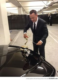 Tom Hanks Taped His Emmy To His Car And Drove Around With It. Like A Boss.