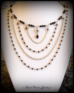 BELOVED Gothic Victorian Noir Beaded Chain Choker by BloodFlowers, $33.00