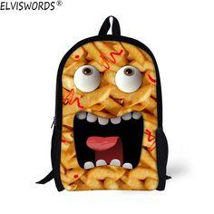 641e45c3249 ELVISWORDS Stylish 3D Emoji Printing School Bags Children Kid Girls  Schoolbag Design Cute Face Bookbag Women