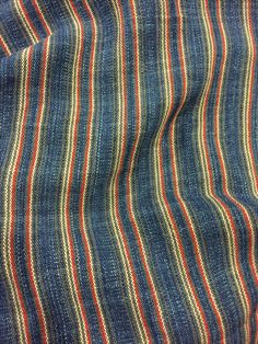 Barbara Pickel - handwoven linen fabric with hand dyed indigo yarn.