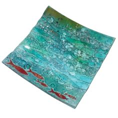 SEASCAPE WITH FISH 30CM FUSED GLASS DISH