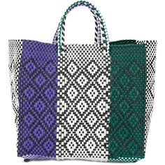 Truss Nyc woven tote (685 PLN) ❤ liked on Polyvore featuring bags, handbags, tote bags, purple, white tote purse, woven tote, woven tote bags, white tote and purple purse