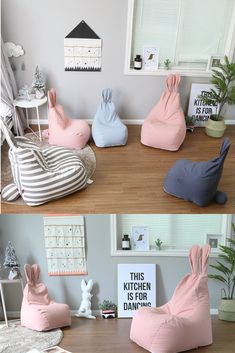 Bunny Cartoon Children Bean Bag is part of Baby room decor - Sewing Projects For Kids, Sewing For Kids, Diy For Kids, Cheap Furniture, Kids Furniture, Pink Bean Bag, Kids Bean Bags, Patio Cushions, Toy Rooms