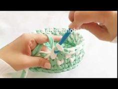 Penye sepet desen çalışması - YouTube Crochet Bowl, Crochet Granny, Filet Crochet, Crochet Stitches, Knit Crochet, Crochet Patterns, Cotton Cord, Old T Shirts, Knitted Bags