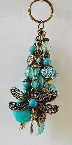 Beaded+Keychains+Dragonfly+by+FrillsAndFlair+on+Etsy,+$13.50
