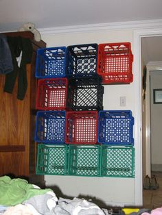 milk crate wall storage- paint them all first Sewing Room Storage, Yarn Storage, Clothing Storage, Diy Storage, Storage Shelves, Storage Closets, Wall Shelving, Shoe Storage, Milk Crate Shelves