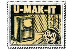 U-MAK-IT, artistamp by Michael Leigh.
