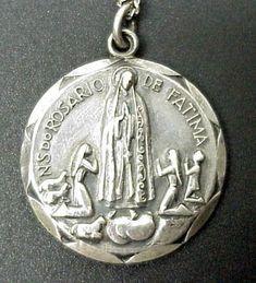Rosario De Fatima Vintage Sterling Medal on 18 by CherishedSaints, $68.00