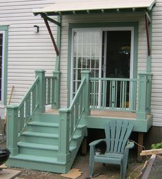 I like the awning idea. Front Porch Steps, Front Porch Design, Patio Steps, Small Back Porches, Decks And Porches, Mobile Home Porch, Door Decks, Deck Stairs, Door Steps