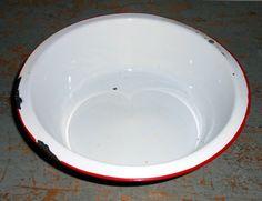 Vintage Bowl Enamel Red & White Large Fruit Bowl by TheBackShak