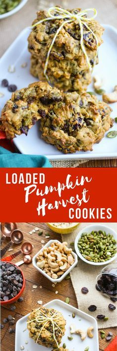 Loaded Pumpkin Harvest Cookies are the perfect fall treats! You'll love that these cookies are chewy and thick and filled with fall flavors!