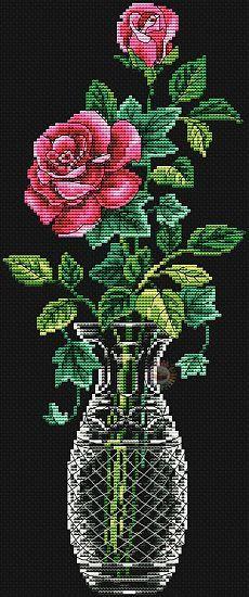Красивая роза вышитая крестом схема бесплатно. Скачать бесплатно схему вышивки розы. | Лаборатория домашнего хозяйства