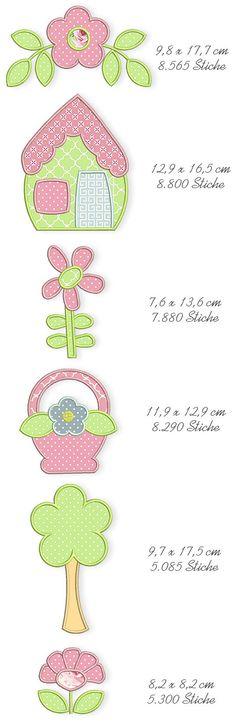 Spring Quilt Applique Machine Embroidery Files by DerStickbaer