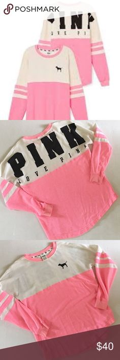 Vs pink varsity crew Worn once vs pink varsity crew has a very tiny mark as shown I have not tried to remove it. ❤️same /next day ship. ❤️no trades. ❤️smoke free home PINK Victoria's Secret Sweaters