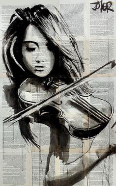 Loui Jover Artist - Recommended by RAFO Fine Arts, Galleria Morcote & swissartgroup Graffiti Kunst, Newspaper Art, Newspaper Painting, Desenho Tattoo, Beautiful Drawings, Art Music, Violin Music, Music Artwork, Love Art
