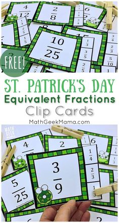 St. Patrick's Day themed cards to help find equilivant fractions: FREE Clip Cards. #fractions #freeprintable #mathactivity #4thgrademath Educational Activities For Kids, Math Activities, Fun Learning, Math Resources, Easy Math Games, Fun Math, Simplifying Fractions, Free Math Worksheets, Simple Math