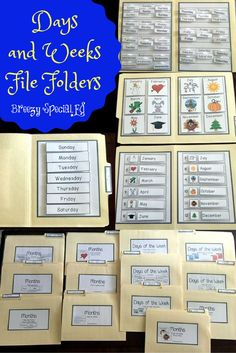 Skills (Days of the Week and Months) File Folders Functional teaching ideas for multi-needs special education, with a transition / life skills focus.Functional teaching ideas for multi-needs special education, with a transition / life skills focus. Calendar Skills, Calendar Activities, File Folder Activities, Calendar Time, Folder Games, Teaching Calendar, Classroom Calendar, Life Skills Classroom, Teaching Life Skills