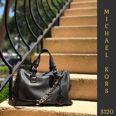 6d04245922a8 Michael Kors black signature bowler bag with silver hardware, only $120  with us at Clothes Mentor Palm Harbor! #cmstyle #mkbag #designerstyle # handbags ...