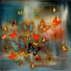By Lily Greenwood. Butterfly Painting, Butterfly Art, Madame Butterfly, Beautiful Flowers Wallpapers, Beautiful Butterflies, Fabric Painting, Watercolor Paintings, Ceiling Murals, Soul Art