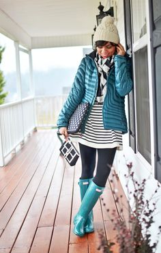 Teal rain boots outfit, love the pop of color!