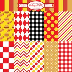 Backyard BBQ Papers - these papers pair with the Backyard BBQ clipart.  Great for scrapbooking, invitations and more.