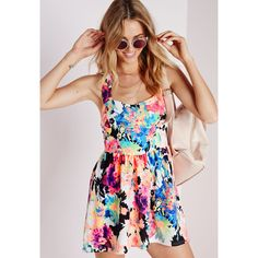 Missguided Cross Back Skater Dress Floral ($24) ❤ liked on Polyvore featuring dresses, multi, floral summer dresses, fancy dresses, strappy dress, print dress and cross back skater dress
