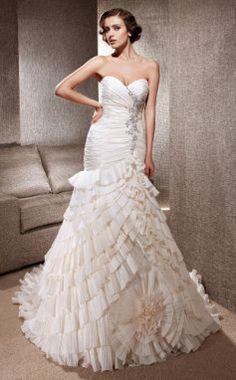 Luxury Delicate Beaded Taffeta Chapel Train Wedding Dress