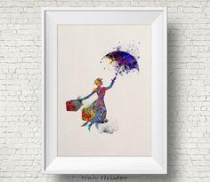 Mary Poppins inspiré des illustrations de Disney aquarelle Art Print Art affiche giclée Wall Decor Art Home Decor mur tenture
