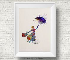 Mary Poppins inspiré des illustrations de Disney aquarelle Art Print Art affiche giclée Wall Decor Art Home Decor mur tenture
