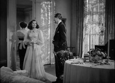 """One of the lovely rooms in Windward House, Gail Russell and Ray Milland, """"The Uninvited,"""" Ghost Movies, Sci Fi Movies, Dramas, The Uninvited, Lawrence Of Arabia, To Kill A Mockingbird, Popular Movies, Horror Films, Youre Invited"""