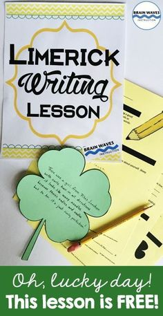 Perfect for St. Patrick's Day or any other day of the year! Students write clever limericks with the help of a step-by-step guide. Then, they write their poems on a four-leaf clover shape. Poetry Lessons, Writing Lessons, Writing Ideas, Future Classroom, Classroom Ideas, School Classroom, Teacher Hacks, Teacher Stuff, Thing 1